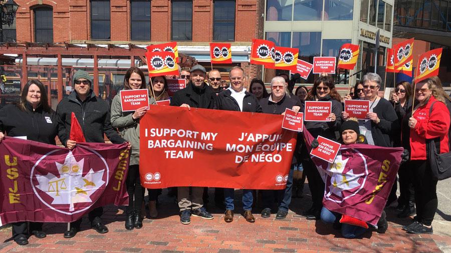 PSAC members rally at Liberal MP Wayne Long's constituency office in Saint John, New Brunswick