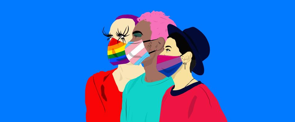 Image de trois personnes avec divers masques de drapeaux de fierté