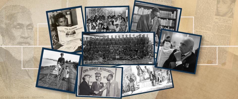Collage de photos en noir et blanc