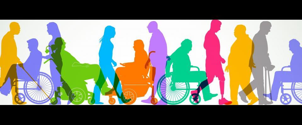 silhouette de personnes ayant divers handicaps