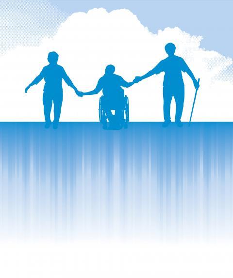 Trois personnes se tenant la main avec, en arrière-plan, un ciel bleu