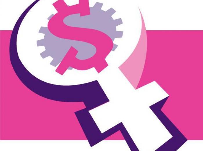Symbole des femmes avec la roue dentée de l'AFPC et le symbole du dollar