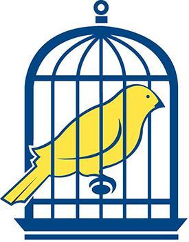 Canari en cage – clin d'œil au canari autrefois envoyé dans les mines pour détecter les gaz toxiques