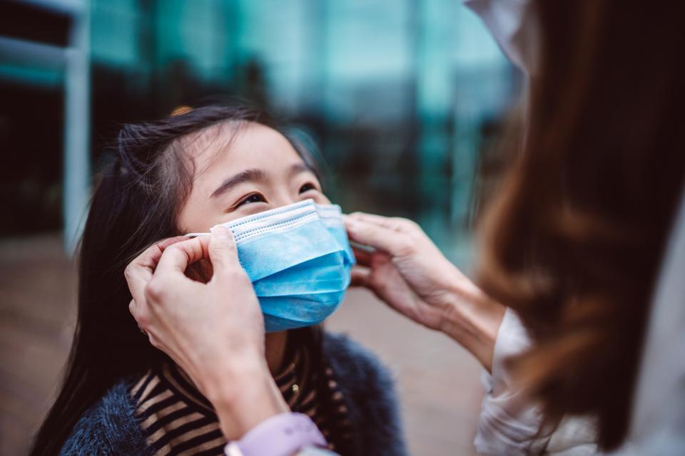 Girl wearing protective mask