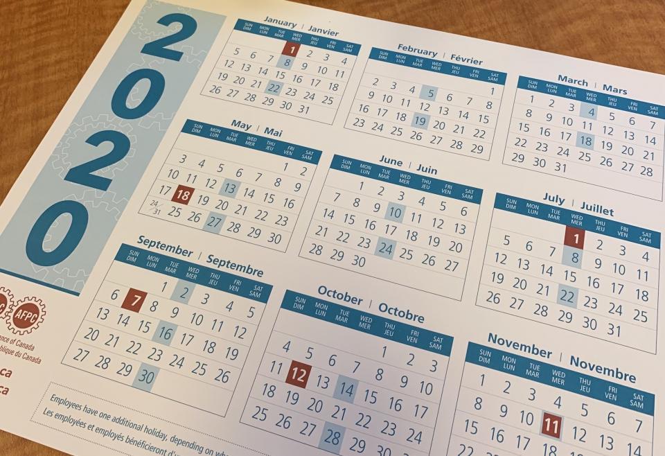 Calendrier Des Fonctionnaires 2021 Calendriers de l'AFPC | Alliance de la Fonction publique du Canada