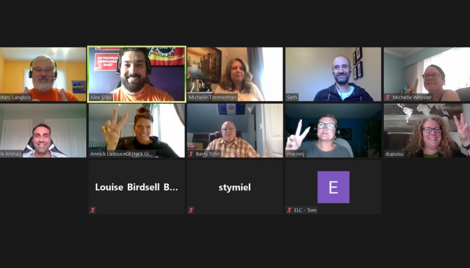 Capture d'écran d'une rencontre de membres travaillant à NAV CANADA