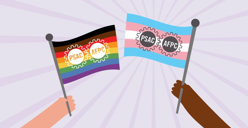 deux mains, l'une claire et l'autre sombre, tenant les drapeaux de la fierté et de la trans fierté